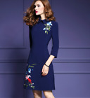 Womens Elegant Occident Retro Embroidery Midi Dress Long Sleeve A Line Ball Gown
