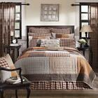 5PC RORY COUNTRY CABIN LODGE PRIMITIVE BROWN QUILT SHAMS PILLOW SKIRT BED SET