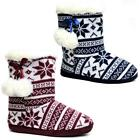 Ladies Slippers Womens Pom Pom Boots Ankle Knitted Winter Warm Fur Booties Size
