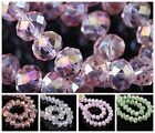50Pc AB Color Rondelle Faceted Crystal Loose Spacer Beads Jewelry Findings 6X4mm