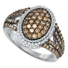 10k White Gold Round Brown Diamond Oval Cluster Roped Ring 1-1/5