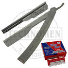 BARBER SALON STRAIGHT CUT THROAT WET SHAVING S.STEEL RAZOR SHAVER WITH BLADES
