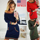 US Ladies Jumper Dress Womens Oversized Stripes Chunky Knitted Long Top Sweater