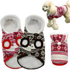 Soft Fleece Lined Christmas Dog Clothes Costumes Coat Jackets Red Brown XS-XL