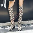 Fashion Women's Pointed PU Leather Priting Flower Block Heel Over The Knee Boots