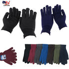 Men's Women Winter Solid Warmer Knit Knitted Casual Gloves Stretch One Size Lot