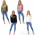 Ladies Womens Gold Vogue Foil Texture Casual Pull Over Sweatshirt Jumper Top