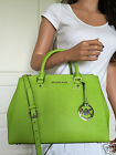 Micheal Kors Green Med Saffiano Leather Satchel Dressy Tote Crossbody Bag Purse