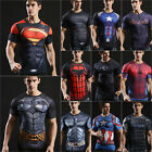 Men T-Shirt Compression Tops Superhero Avengers Marvel Muscle Fitness Jersey Tee