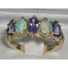 Solid 10k Yellow Gold Natural Tanzanite & Opal Womens Band Ring - Sizes 4 to 12
