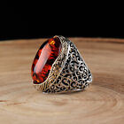 Handmade 925 SILVER Turkish ring Amber stone for Men all sizes jewelry RRP £40