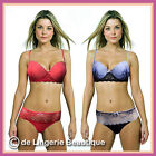 Red & Blue Underwired Padded Satin & Lace Bra and Brief Sets Size 32B - 38DD