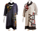 Ladies ITALIAN Lagenlook TUNIC/DRESS & SNOOD Plus Size Zig Zag  Wool Mix