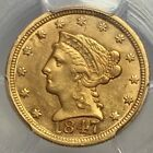 1847 $2.5 LIBERTY GOLD PIECE Lustrous RARE Low Mintage Date CHOICE *AU DETAILS*