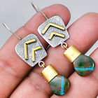 Two Tone - Azurite 925 Sterling Silver Ewrrings Jewelry SDE5650