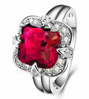 5CT size 10 Ruby 925 Silver Glod Filled Gemstone Engagement Bride Ring
