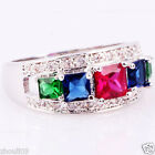 wholesale size 6 Exquisite Ruby 925 Silver Glod Filled 3ct Ring Christma Gift