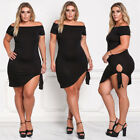 Sexy Women Cocktail Dress Plus Size Clubwear Off Shoulder Bodycon Irregular