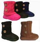 New Girls Toddlers Kids Slouch Two Button Comf Midcalf Suede Boots Shoes