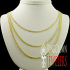 New Mens Womens 100% 10k Yellow Gold 2.5mm Cuban Curb Link Necklace Chain 22-26""