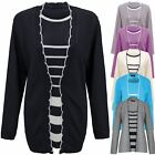 Ladies Womens Striped Twin Set Knitted inserted Cardigan Sweater Jumper Top