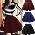 Women Cotton Vintage Stretch High Waist Plain Skater Flared Pleated Skirt UT