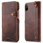 For Apple iPhone X 10 Genuine Leather Flip Wallet Card Slots Wax oil Case Cover