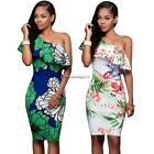 Women Casual Ruffles One Shoulder Sleeveless Floral Printed Bodycon NC89