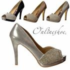 Womens Diamante Encrusted Peep Toe Mid Heels Party Shoes Gold Silver Black Size