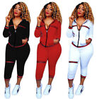 2Pcs Women Tracksuit Hoodies Sweatshirt Pants Sets Sport Wear Zip Casual Suit