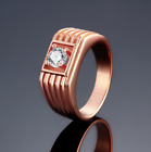 Mens Rose Gold Plated AAA Grade CZ Crystal Wedding Ring Band Size 8 #GR09