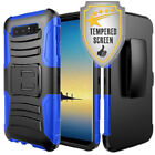 Holster & Kickstand Phone Shockproof Case For Galaxy S7 + Tempered Glass