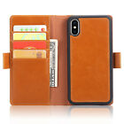 For Apple iPhone X Flip Wallet Leather Detachable Card Slots Magnetic Case Cover