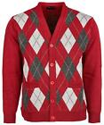 MensMens Diamond Pattern Knitted Cardigan V Neck Button Closure Long Sleeves
