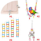 Pet Parrot Birds Wood Beads Rope String Stand Perch Cage Hang Ladder Chew Toy