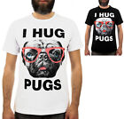 I HUG PUGS / Mens, Black, White, T-Shirt