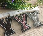 Capital Letter Alphabet Y Rhinestones Sequin Embroidered Iron On Patch Applique