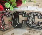 Capital C Alphabet Letter Patch Rhinestones Sequin Embroidered Iron On Applique