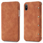 For Apple iPhone X 10 Retro Flip Leather Wallet Slim Card Slots Stand Case Cover