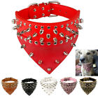 dog spike collars - Spiked Studded Bandana Dog Collars Pet Dog Neck Scarf Neckerchief PU Leather S L