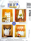 """McCALL'S PATTERN CURTAINS DRAPERY VALANCE HOME DECOR WIDTHS 30"""" - 60"""" # 2788"""