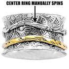 Flowers Pattern Solid 925 Silver Spinner Ring 2 Tone Spin Wide Band DGR1055