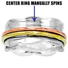 Silver 925 Ring Solid Spinning Golden Wide Band Three Colors Size 5 - 10 DGR1006