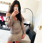 New Bodycon Dress Fitted V Neck Long Sleeve Womens Ladies Party Wear UK Size  ❤