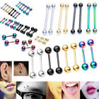 16G Nose Lip Nipple Barbell Tongue Ring Steel Ear Cartilage Piercing Earring