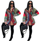 Women long sleeves classic print clubwear party cocktail casual mini shirt dress