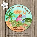 DINOSAUR WATER COLOUR BIRTHDAY PARTY PERSONALISED ROUND GLOSS STICKERS x12
