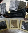 Michael Kors MK Logo Scarf Metallic Black White Gray Camel Brown Hat Set Boxed