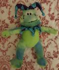 "11""  Frog Toad Court Jester Green Plush Stuffed Animal Peek A Boo Toys RARE VHTF"