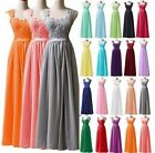 Long Formal Wedding Party Bridesmaid Dresses Chiffon Lace Evening Prom Ball Gown